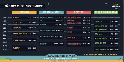 Horarios Oficiales Corona Capital