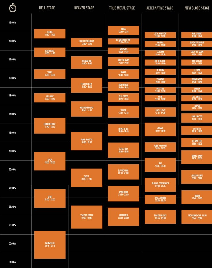 HELL AND HEAVEN HORARIOS 2016