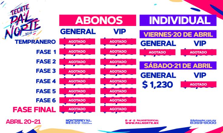 abonos festival Pa`lnorte 2018